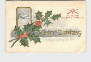 PPC POSTCARD ARKANSAS FT. LOGAN H. ROOTS U.S. INFANTRY MERRY CHRISTMAS HOLLY SNO