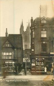 Ashford High Street 1920s Kent UK RPPC real photo postcard 6535