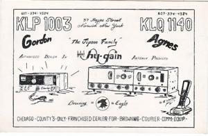 CB QSL - KLP1003 & KLQ1140, The Jipson's, Norwich NY