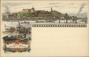 Budapest Ships Harbor Morrellig Lithograph Postal Card 1896 Expo EXC COND