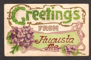 ME Greetings from AUGUSTA MAINE Postcard PC Violets