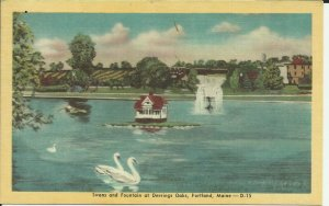 Swans And Fountain At Deering Oaks, Portland, Maine