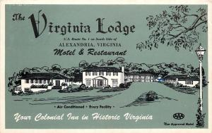 Alexandria Virginia Lodge Motel & Restaurant~AAA Approved Green 1956