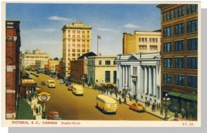 Victoria, British Columbia/BC Canada Postcard, Douglas Street, Art Deco Buses