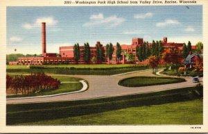 Wisconsin Racine Washington Park High School From Valley Drive Curteich