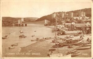 uk2224 conway conwy castle and bridge wales ship real photo uk