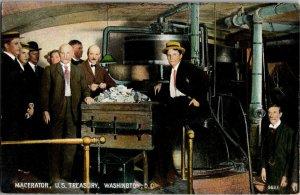 Macerator in Use at U.S. Treasury Washington DC Vintage Postcard R31