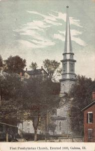 Galena Illinois~First Presbyterian Church Steeple~Homes on Hill Above~1908 PC