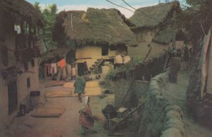 Naulora Village Mud & Thatched Houses Indian Postcard
