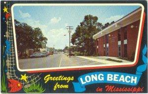 Street Scene Greetings from Long Beach Mississippi MS, Chrome