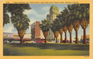 Phoenix Arizona~Luhrs Building & Towers from Courthouse Lawn~40s Cars~Postcard