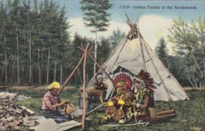 American Indian Family In The Northwoods Superior National Forest Curteich