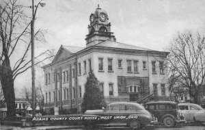 Adams County Court House Cars West Union Ohio 1956 postcard