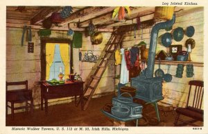 MI - Brooklyn, Irish Hills. Walker Tavern Log Joisted Kitchen