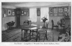 The Parlor, Longfellow's Wayside Inn, South Sudbury, MA, early postcard, Unused