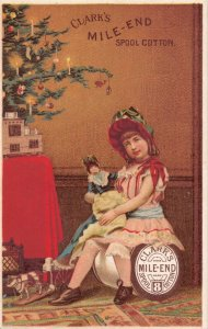 TC33 Clark's Mile-End Spool Cotton 1887, Girl, Toys, Tree Vintage Trade Card