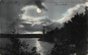Canada A Bit of Muskoka Lake Grand Trunk Railway System Moonlight Postcard