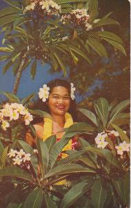 Hawaii Girl in Traditional Costume Amidst Plumeria Blossoms