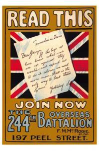 Postcard, The 244th Overseas Battalion UK Vintage Repro Recruitment Poster 43i