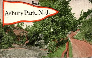 New Jersey Asbury Park Country Road Scene 1916 Pennant Series