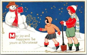 Vintage 1910s CHRISTMAS Greetings Embossed Postcard Girls / Snowman UNUSED