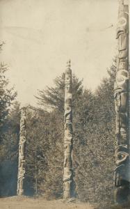 SITKA ALASKA AMERICAN INDIAN TOTEM POLES ANTIQUE REAL PHOTO POSTCARD RPPC