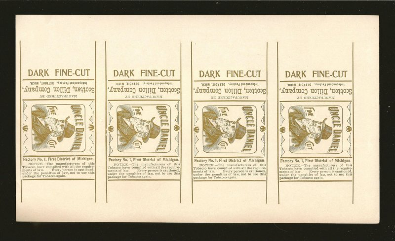 Vintage Uncle Daniel Dark Fine Cut Sheet of 4 Tobacco Labels 10x5-3/4 Inches