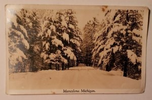 Vintage Postcard Mancelona Michigan winter trees snow black and white 1943