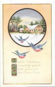 Merry Christmas embossed card winter scene with blue birds.  1919 #498 booklet