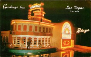 1950s Showboat Night Neon Las Vegas Nevada Scott Western Postcard 20-6276