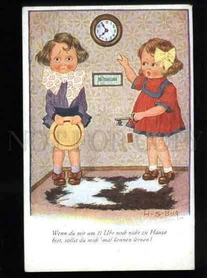134470 COMIC Funny KIDS w/ Clock by H-S-B vintage ART DECO PC