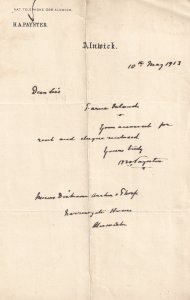 HA Paynter Alnwick Northumberland Old Legal Solicitor Hand Signed Receipt