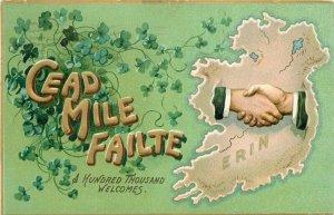 Hands across the Sea Ireland 1909 Tuck St Patrick's Day Postcard Tuck 21-2322