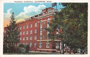 Rochester Minnesota~Worrell Hospital~People on Sidewalk-Front Steps~1930 Pc