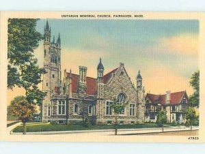Linen CHURCH SCENE Fairhaven - By New Bedford Massachusetts MA AD1796