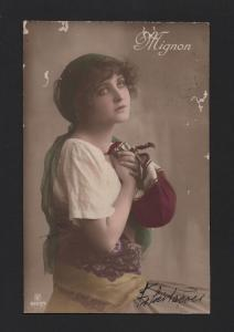 Mignon Gipsy Woman  old 1910 postcard glamour pin up girl  z1