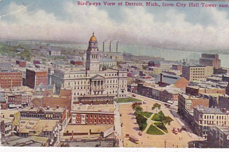 Michigan Detroit Birds Eye View From City Hall 1910