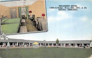 Omaha Nebraska 1958 Postcard Shamrock Motel Interior Room View