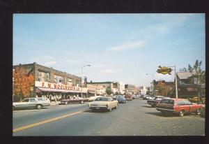 GREENFIELD MASS. DOWNTOWN STREET SCENE WOOLWORTH STORE OLD CARS POSTCARD