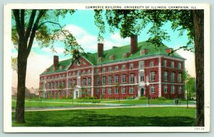 Champaign~University of Illinois Campus~Commerce Building~1929 Postcard