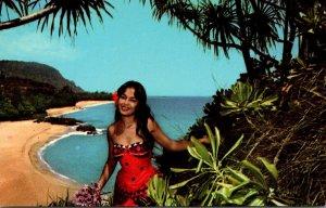 Hawaii Kauai Lumahai Beach and Beautiful Hawaiian Wahine