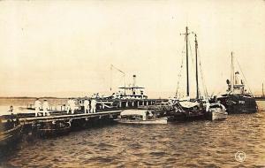 Cuba Ships Boats at Dock Real Photo Postcard