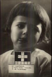Cute Child Crossword Puzzle Game Italian c1915 Real Photo Postcard #1