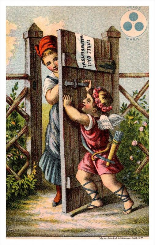 13462  Trade card  NY Three ball Washing Crystal, Cupid, Closing Gate, Pretty...