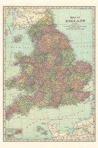 Map Of England Britain Rare Postcard