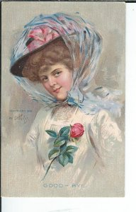 AX-028- Good Bye, artist E.H. Kiefer, Golden Age Postcard, 1907-1915 Vintage