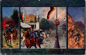 Serious Present Sunny Future painting Germany 1920s art postcard