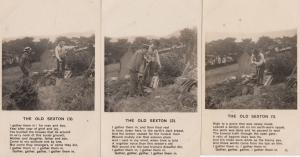The Old Sexton Gravedigger Gravedigging Real Photo Old 3x Songcard Postcard Set