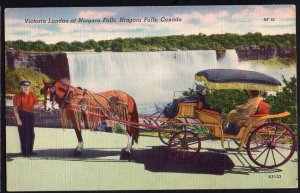 Ontario ~ NIAGARA FALLS Victoria Landau Horse and Carriage pm1953  LINEN