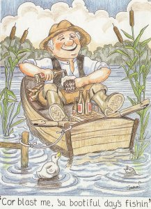 Norwich Fishing Norfolk Accent Comic Newspaper Humour Postcard